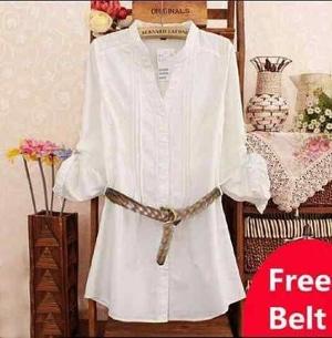Model Baju Hem Kemeja Wanita Lengan Panjang Warna Putih Modern