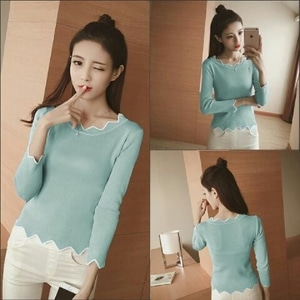 Model Baju Kaos Lengan Panjang Wanita Polos Modern Terbaru