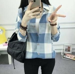 Model Baju Kemeja Kerja Wanita Lengan Panjang Motif Kotak-kotak