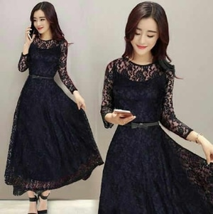 Model Baju Long Dress Bahan Brukat Panjang Modern Cantik Terbaru