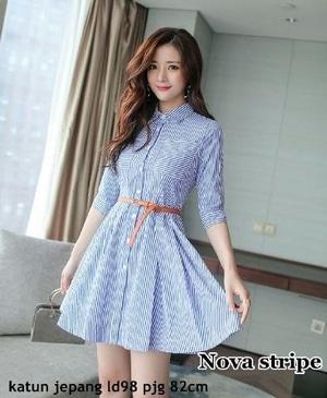 Model Baju Mini Dress Pendek Fashion Wanita Motif Belang Terbaru
