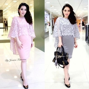 Model Baju Mini Dress Pendek Pesta Fashion Wanita Desain Cape Brukat