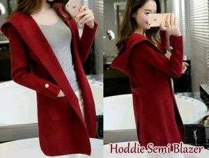 Model Blazer Hoodie Style Casual Wanita Polos Terbaru Modern Ala Korea