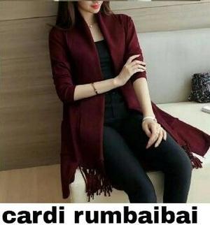 Model Cardigan Wanita Rumbai Warna Merah Maroon Terbaru Ala Korea