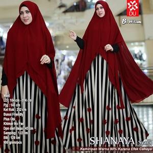 Model Setelan Baju Gamis Syari Muslimah Wanita Terbaru Motif Belang