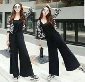 Setelan Baju Jumpsuit Panjang & Cardigan Motif Belang Model Terbaru