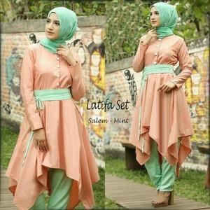 Setelan Baju Muslim Hijab Tunik Celana 3 in 1 Wanita Model Terbaru