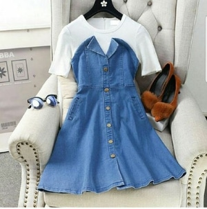 Style Baju Mini Dress Pendek Fashion Wanita Bahan Katun Denim Modern