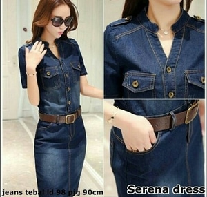 Style Model Baju Mini Dress Pendek Fashion Wanita Bahan Jeans Terbaru