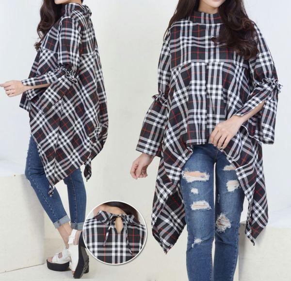 Model Baju Atasan Blouse Wanita Motif Kotak Bulberry Cantik Terbaru