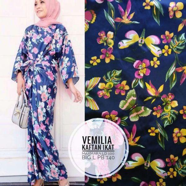 Baju Long Dress Kaftan Ikat Panjang Motif Bunga Cantik Model Terbaru