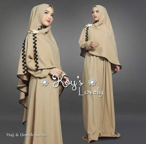 Baju Setelan Gamis Syari Muslimah Wanita Kombinasi Renda Cantik Modern