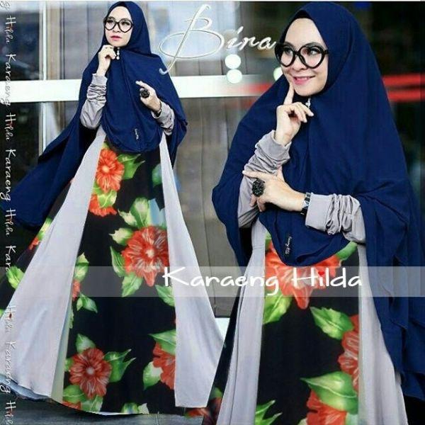 Setelan Baju Gamis Syari Motif Bunga Pakaian Muslimah Modern Model Terbaru