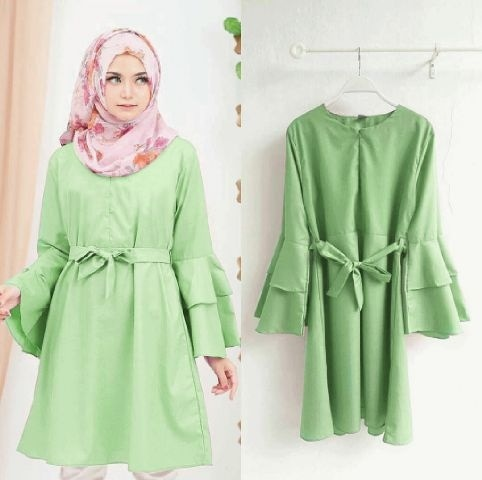 Model Baju Atasan Blouse Hijab Muslim Wanita Tunik Lengan Panjang