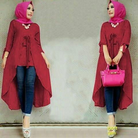 Model Baju Atasan Muslim Wanita Tunik Lengan Panjang Polos Terbaru
