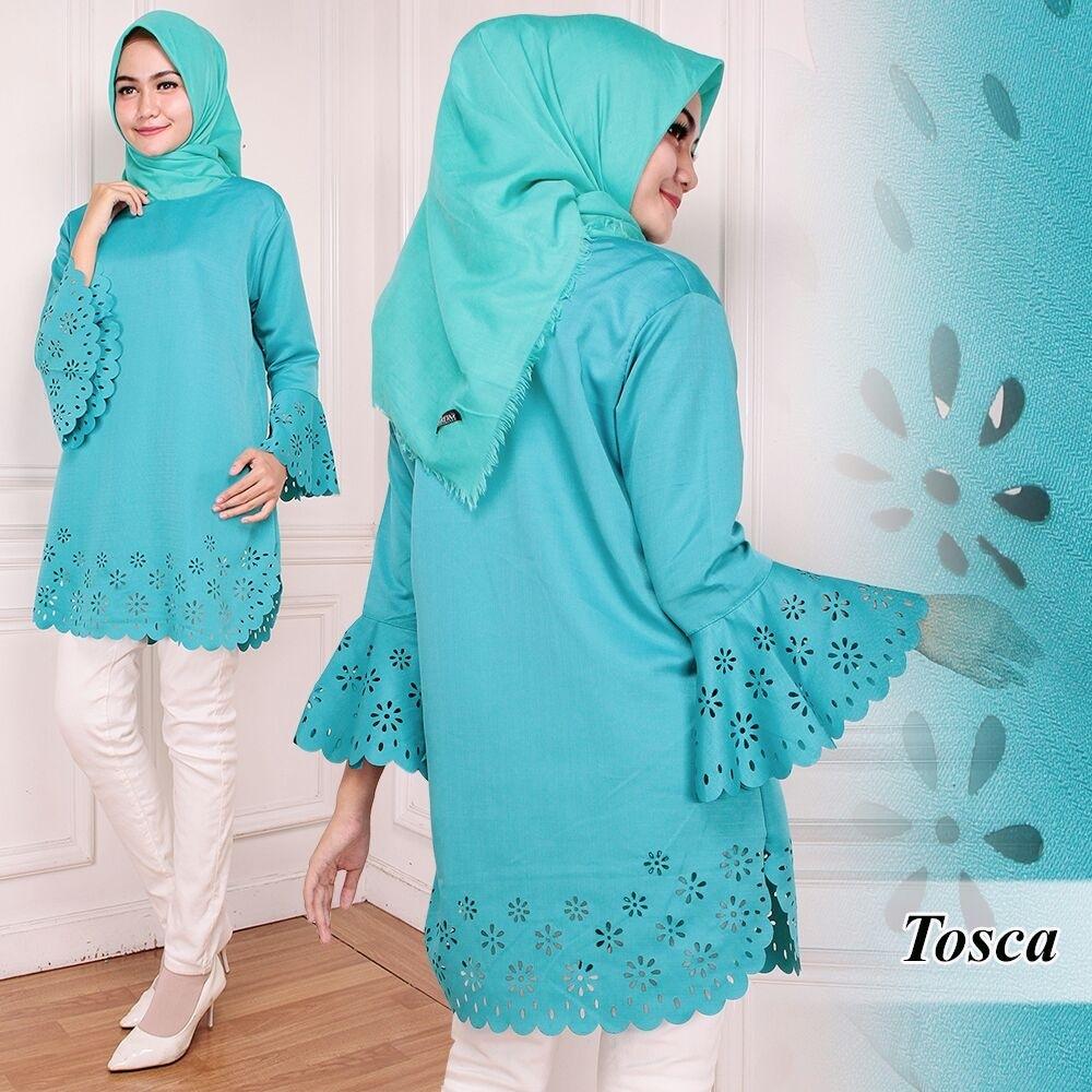 Model Baju Atasan Lengan Panjang Muslim Wanita Tunik Laser Cantik Terbaru