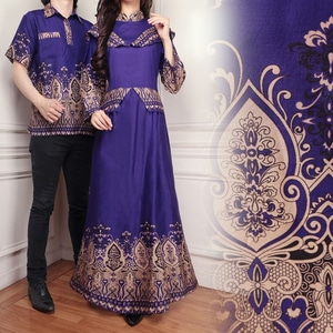 Baju Couple Muslim Long Dress Motif Batik Modern Model Terbaru dan Murah