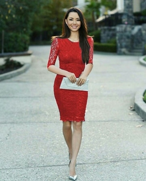 Baju Dress Party Pendek Fashion Wanita Bahan Brukat Warna Merah Cantik