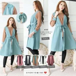 Baju Dress Pendek Fashion Wanita Lengan Panjang Kombinasi Overall Modern