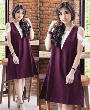 Baju Dress Pendek Fashion Wanita Overall Bahu Bolong Cantik Model Terbaru