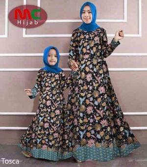 Baju Gamis Couple Ibu Mama Dan Anak Motif Batik Modern Model Terbaru