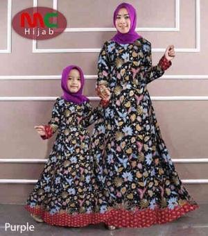 Baju Gamis Couple Ibu Mama Dan Anak Motif Batik Modern