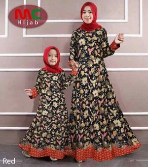 Baju Gamis Couple Ibu (Mama) dan Anak Motif Batik Modern Model Terbaru