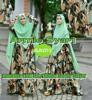 Baju Gamis Syari Busui Motif Army Pakaian Muslimah Wanita Model Terbaru