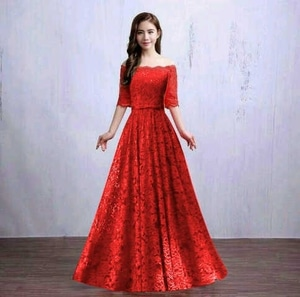 Baju Gaun Long Dress Pesta Panjang Bahan Brukat Warna Merah Model