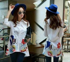Baju Hem Kemeja Wanita Warna Putih Motif Cantik Modis Model Terbaru