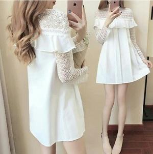 Baju Mini Dress Pendek Wanita Warna Putih Kombinasi Bahan Brukat Modern