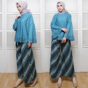 Baju Setelan Celana Kulot Muslim Wanita Modern Motif Batik Model Terbaru