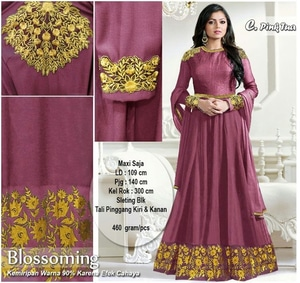Long Dress Maxi Baju India Muslim Bordir Cantik Modern Model Terbaru