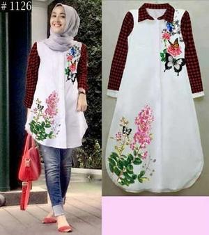 Model Baju Atasan Muslim Wanita Lengan Panjang Terbaru Tunik Cantik