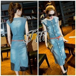 Model Baju Dress Pendek Fashion Wanita Bahan Denim Modern Terbaru