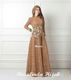 Model Baju Gamis Long Dress Hijab Bahan Brukat Bordir Bunga Modern Terbaru