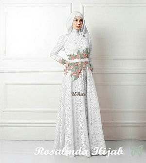 Model Baju Gamis Long Dress Hijab Bahan Brukat Bordir Bunga Modern