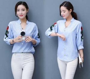 Model Baju Hem Kemeja Wanita Motif Salur Garis-garis Desain Modern Terbaru