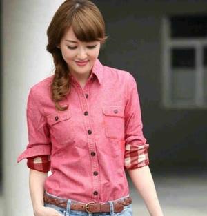Model Baju Hem Kemeja Wanita Warna Kombinasi Lengan Panjang Terbaru