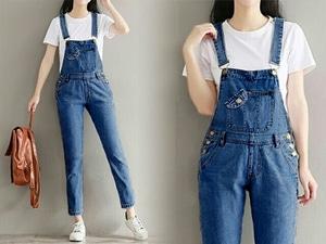 Model Baju Jumpsuit Celana Kodok Panjang Bahan Jeans Washed Terbaru