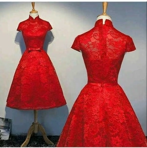 Model Baju Mini Dress Pesta Pendek Wanita Warna Merah Bahan Brukat Terbaru