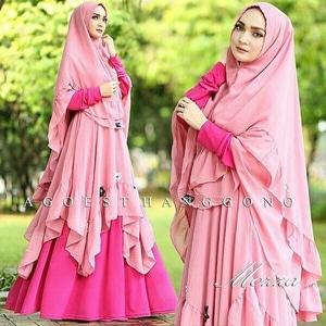 Model Baju Setelan Gamis Syari Muslimah Wanita Cantik Modern Terbaru
