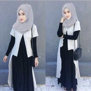 Setelan Baju Gamis Long Cardigan Muslimah Wanita Modern Model Terbaru
