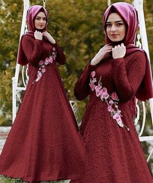 Setelan Baju Gamis Long Dress Hijab Muslim Bahan Brukat Bordir Modis Modern
