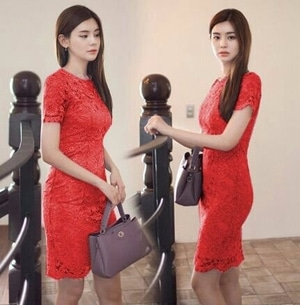 Style Model Baju Mini Dress Pendek Pesta Fashion Wanita Bahan Brukat Terbaru