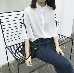 Baju Atasan Wanita Lengan Pendek Aplikasi Tali Model Terbaru Cantik Modis