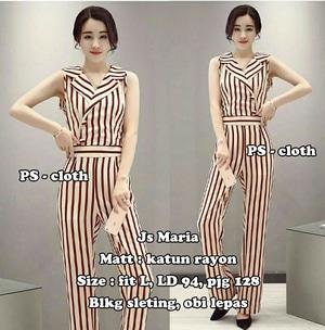 Baju Jumpsuit Wanita Cantik Motif Belang Garis-garis Model Terbaru Modern