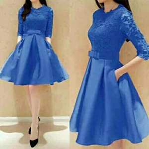 Baju Mini Dress Pendek Pesta Fashion Wanita Bahan Brukat Model Terbaru