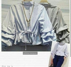Model Baju Blouse Hijab Atasan Wanita Lengan Panjang Desain Balon Susun Terbaru