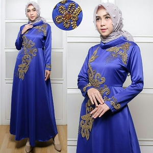 Model Baju Gamis Long Dress Muslim Pesta Bahan Satin Modern Terbaru